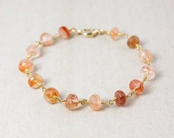Gold Peach Sunstone Bracelet - Sunstone Beads