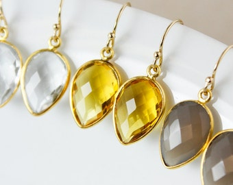 Gold Gemstone Dangle Earrings - Leaf - Choose Your Stone