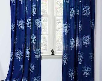 "Indigo curtains window curtain Indigo blue bedroom - ONE Panel - 44""x84"" - hand block printed - Cotton - Home and Living - Tree"