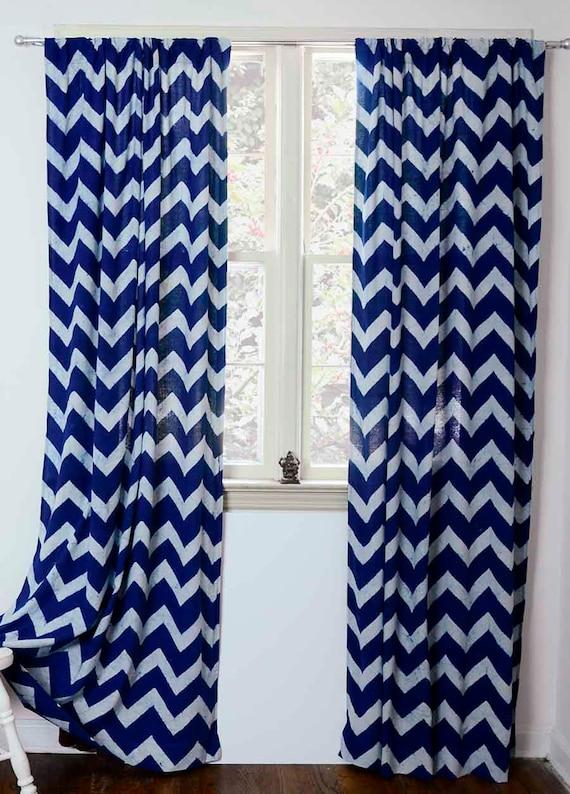 Curtain chevron sample sale single indigo blue zig zag panel window