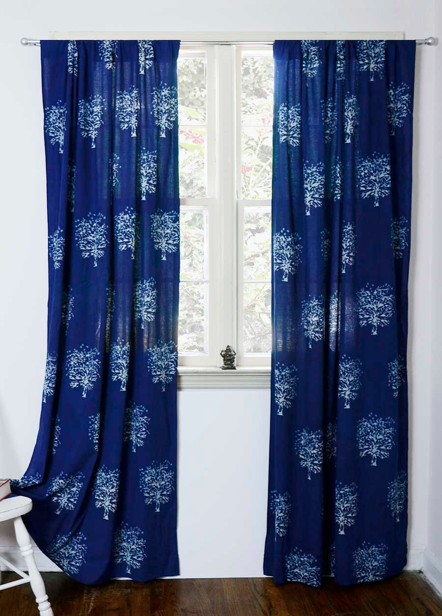 Navy blue bedroom curtains - Indigo Curtains Window Curtain Indigo Blue Bedroom One Panel 44 X84 Hand Block Printed Cotton Home And Living Tree
