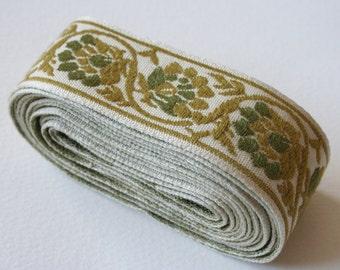 Vintage Upholstery Ribbon Trim 2 Tone Green Trim Leafy Scroll Design
