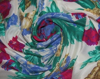 Vintage Liz Claiborne Large Square Silk Scarf - Basket Weave Border - Big Bunch of Flowers - Floral Scarf