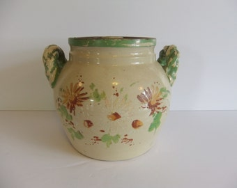 Antique Cookie Jar, Pottery, Bean Pot, Crock, Twisted handles, Orginal lid, cover, Flowers, Chipping paint, Green brown tan