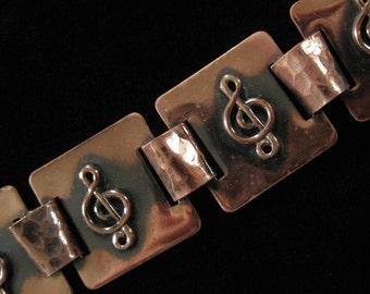 Treble Clef Musical Staff Copper Bracelet by Marshall