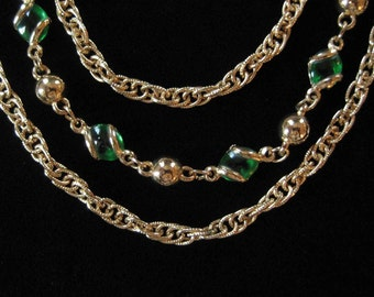 Triple Chain Necklace with Wrapped Green Glass Stones