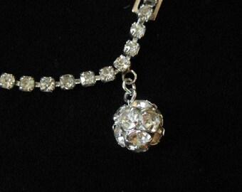 Rhinestone Chain Bracelet with Ball Charm