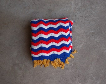 Vintage Afghan Blanket Red White Blue Gold Americana Independence Day July Fourth Memorial Day Home Decor Chevron Stripes Crocheted
