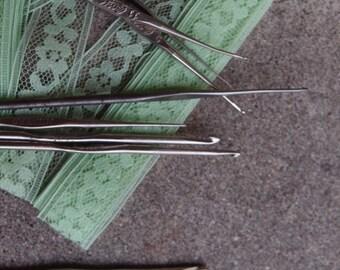 Vintage Crochet Hooks Destash Lot Six Stainless Steel Lace Doily Doilies Making Supplies Sizes 0 1 2 9 10 12