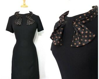 1950s Black crepe dress Polka dot scarf Wiggle party dress S/M