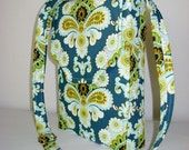 Hipster Messenger Bag Cross Body Adjustable Strap Medium Designer Fabric Amy Butler French Wallpaper Blue Green