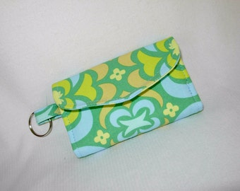 Card Case Business Card Case Tri Fold Amy Butler Fabric Green Yellow Blue