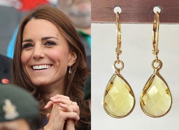 Kate Middleton Citrine Teardrop Earrings Gold Or By