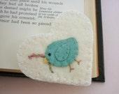 Felt Bookmark Bird Corner Heart Shape Embroidered Wool Felted Book Mark