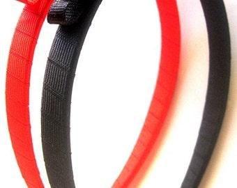 Red & Black Headband Half A Inch Set of 2