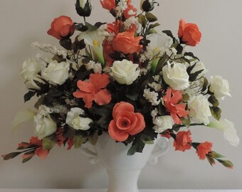 Coral Peach Ivory Lilies Real Touch Calla Roses Silk Wedding Flower Floral Arrangement Centerpiece