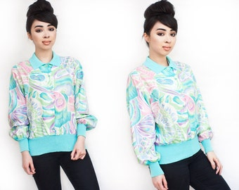 Pastel Floral Silk Bomber Mint Green with Collar XS S M