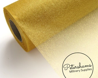 29cm (11.4 Inch) Wide Shimmer Organza Fabric for Millinery & Crafts 1 Metre - Old Gold