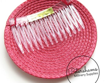 10cm Artificial Straw Fascinator Hat Base with Comb - Cherry Red