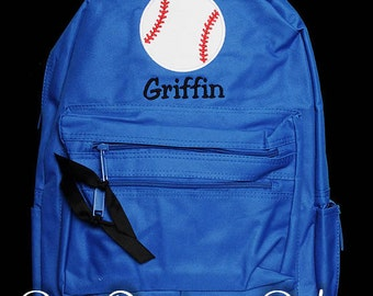 Boys Personalized Backpack, Baseball Backpack, Monogrammed, Choose Your Own Colors, Custom Backpack