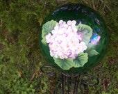 Green Gazing Ball w/Pink Hydrangeas