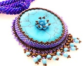 Beaded Turquoise Donut and blue long Necklace
