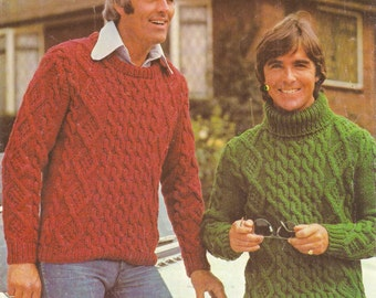Men's Aran Sweaters knitting pattern. Instant PDF download!
