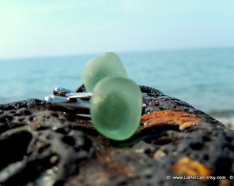 Organic light green sea glass cufflinks for him or her with Genuine Natural Amalfi Sea Glass /nr60