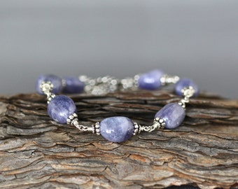 Tanzanite Bracelet - Bali Silver Bracelet - Tanzanite Jewelry - Wire Wrapped Bracelet Silver - Blue Gemstone Bracelet - Blue and Silver