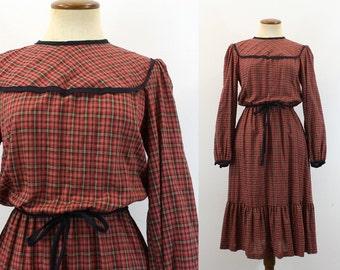 1970s Plaid Party Dress Red Green Long Sleeve Ruffled Hem High Black Trim Yoke Tie Belt Prairie Holiday Vintage 70s Schoolgirl Medium M
