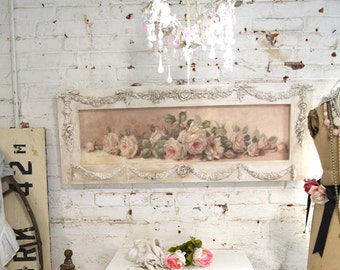 Painted Cottage Chic Shabby Romantic Rose Canvas Print HD59