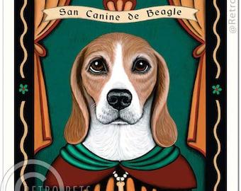 8x10 Beagle Art - Patron Saint of Sniffery - Art print by Krista Brooks