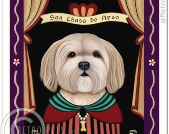 8x10 Lhasa Apso Art - Patron Saint of Disobedience -  Art print by Krista Brooks