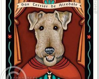 8x10 Airedale Terrier Art - Patron Saint of Clowns -  Art print by Krista Brooks