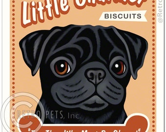 """8x10 Black Pug Art - Little Charmer Biscuits """"For They Who Must Be Obeyed""""  -  Art print by Krista Brooks"""