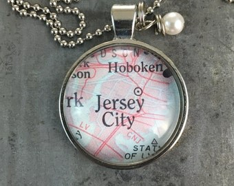 Map Pendant Necklace Jersey City New Jersey NJ