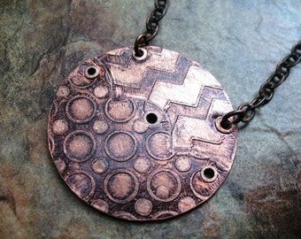 Scallops Etched, Riveted Dark Copper Necklace
