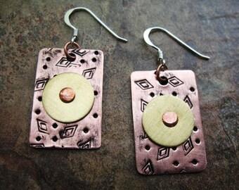 Brass on Riveted Copper Earrings