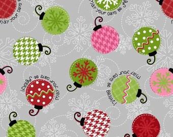 Maywood Studio Kimberbells Merry & Bright Ornaments Grey Snowflakes Christmas Fabric by the yard  8200MK