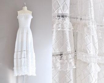 vintage 1970s bohemian wedding dress • lace dress • 70s bohemian dress • vintage wedding dress