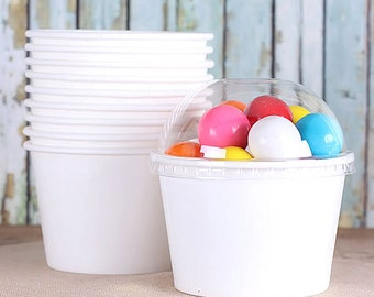 Large White Ice Cream Cups with Lids, Wedding Sundae Cups, White Treat Cups, Brownie Sundae Cups, Popcorn Cups, Candy Cups (8oz - 18 ct)