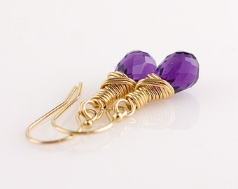 Purple Amethyst 14K Gold Filled Earrings