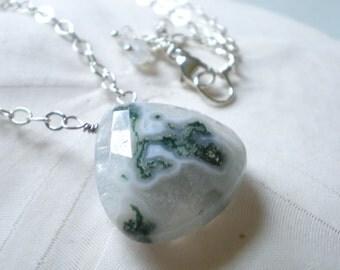 Moss Agate Heart Teardrop Necklace in Sterling Silver -Mossy Forest Green, Grey, Cream.