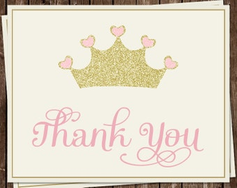 Princess Thank You Cards, Baby Shower, Birthday, Crown, Glitter, Gold, Pink, Set of 24 Folding Notes, FREE Shipping, PRPPK, Pretty Princess