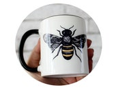 Bumble Bee Coffee Cup, Sublimated 11 oz Sublimated Mug, Honey Bee, Flower Garden Insect, Made To Order, Kitchen, Beverage Drink Yellow Black