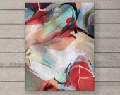 Digital Print of Organic Abstract Black Red Tan Blue Watercolor Painting 1, Digital Fine Art Print, Multiple Sizes Available