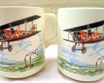 Two Matching Vintage Bi-Plane Large Mugs