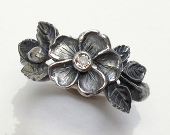 Heirloom Rose Diamond Flower Ring Sterling Silver
