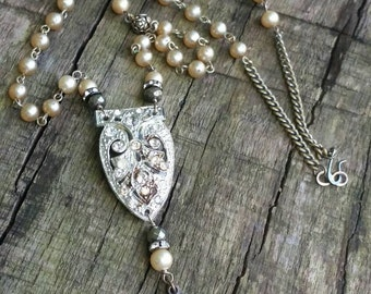 Upcycled Vintage Religious Assemblage Necklace, Pearls,Rhinestone Dress Clip,Ooak,Repurposed, Shabby Chic
