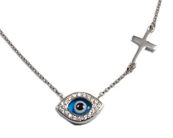 Reversible CZ Eye Evil with Cross Necklace in Sterling Silver